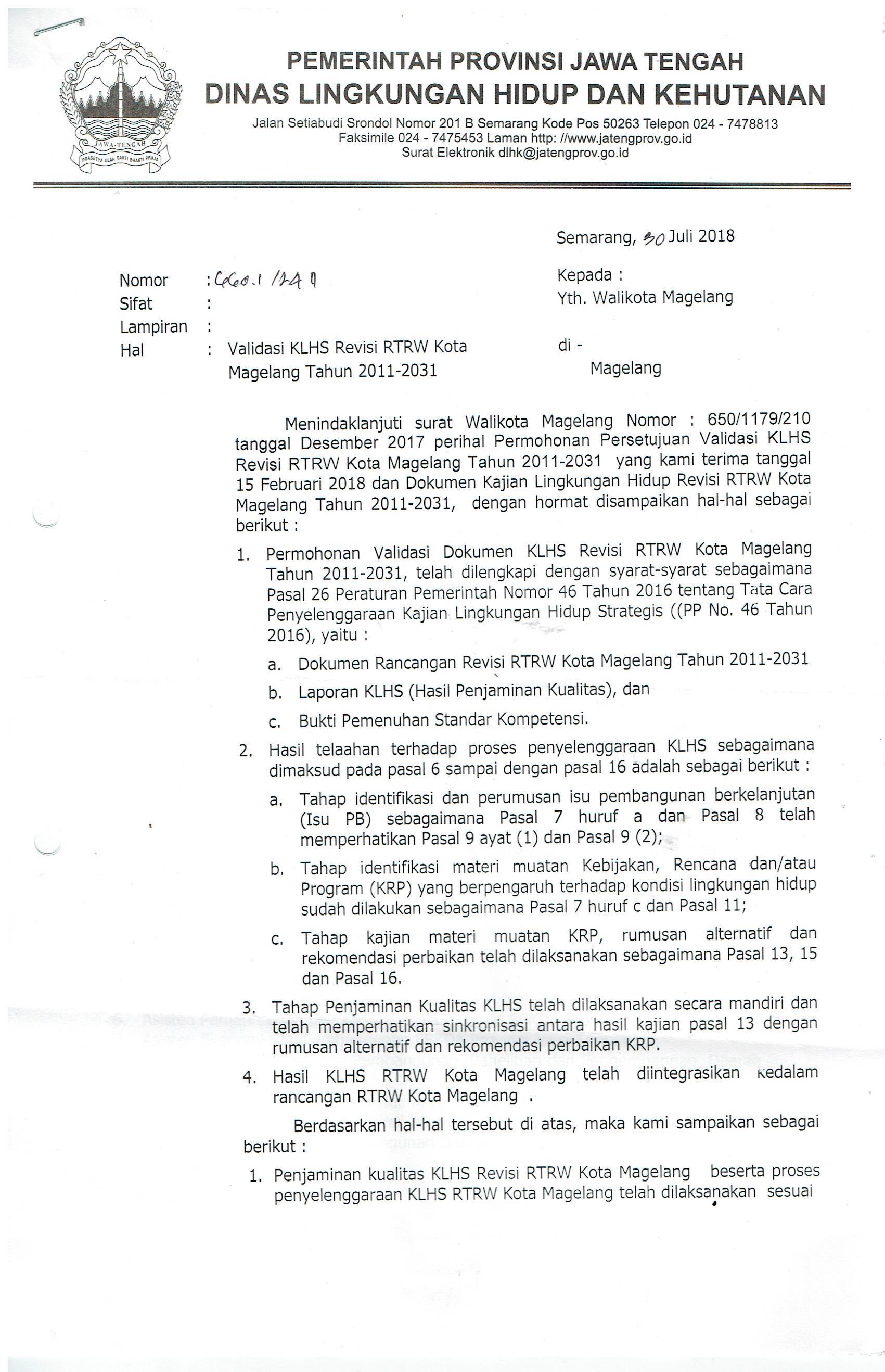 Validasi KLHS Review RTRW KOta Magelang tahun 2011-2031
